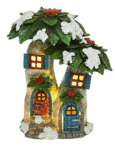 Fairy Glade Poinsettia Flower House, LED Light,Fairy House, Magical Fairy Garden Large
