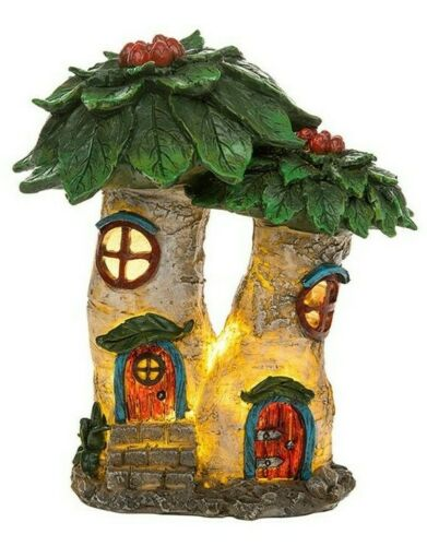 Fairy Glade Poinsettia Flower House, LED Light,Fairy House, Magical Fairy Garden Small
