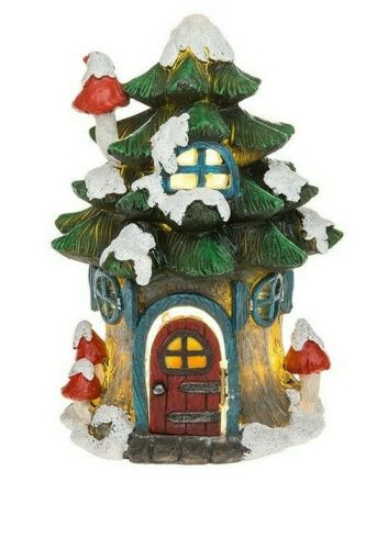 Fairy Glade Snowy Winter House, LED Light,Fairy House Magical Fairy Garden Small