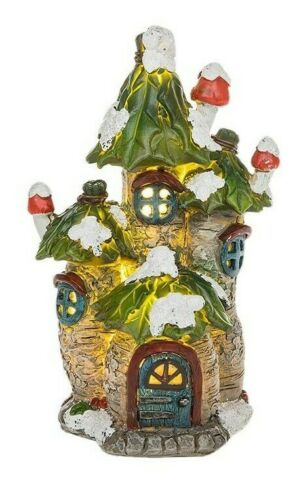 Fairy Glade Three Tower House, LED Light,Fairy House Magical Fairy Garden Small
